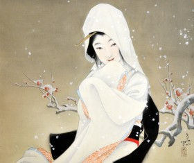 鷺娘/絹・彩色(軸装)/昭和58年/個人蔵/小田富弥88歳の時の作。
