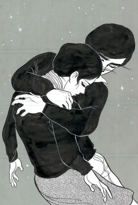 上村一夫・画「同棲時代 VOL33 風落ちて曇り立ちけり星月夜」原画/『Weekly漫画アクション』1972年11/9号